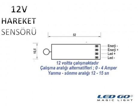 HAREKET SENSÖR DEVRESİ-12VDC-ULTRA SLIM-LED KANAL/PROFİL İÇİNE UYGUN