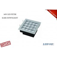 16W KARE PETEK LED DOWNLIGHT-SIVA ALTI-220V