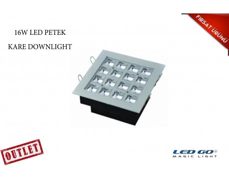 16W KARE PETEK LED DOWNLIGHT-SIVA ALTI-220V