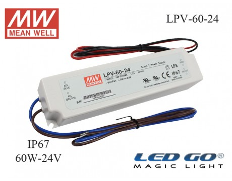 MEAN WELL  LPV-60-24 60 W, 24 V, 2.5 A,SABİT VOLTAJ