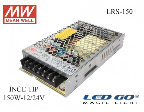 MEAN WELL LRS-150, 150W, 12/24 V, 12,5/6,5 A, SABİT VOLTAJ,İNCE TİP