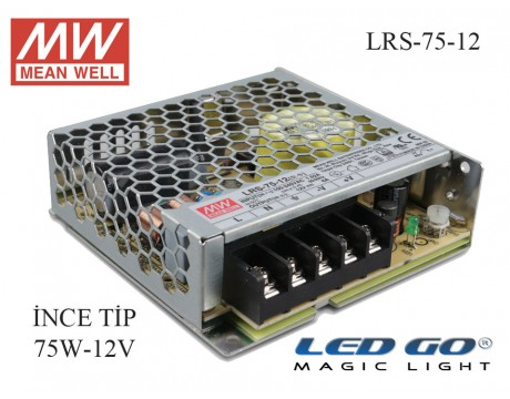 MEAN WELL  LRS-75-12 72 W, 12 V, 6 A,SABİT VOLTAJ,İNCE TİP