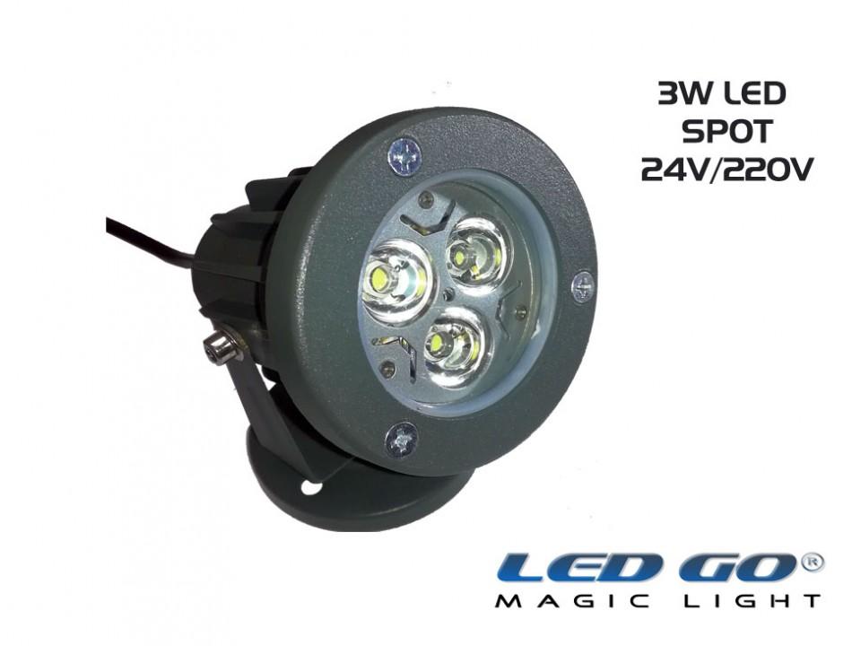 MINI LED SPOT,3W,24V DC, IP67