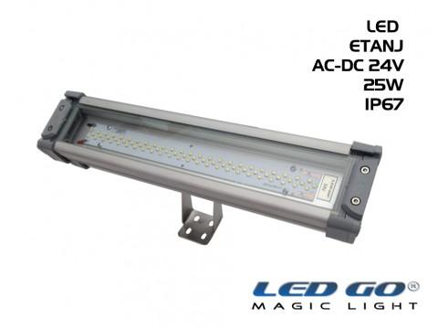 Led Go®LET-25A-24V ,Temperli Camlı LED Etanj Armatür, 25W,24V AC-DC,IP67